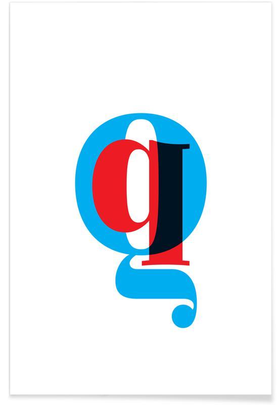Abecedario y letras, Cyan/Red Q póster