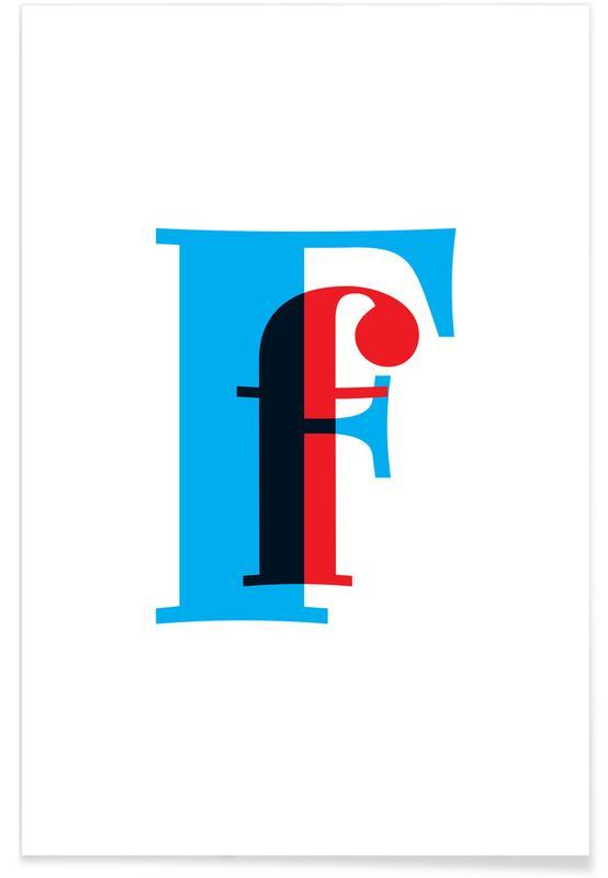 Alfabetet & bokstäver, Cyan/Red F Poster