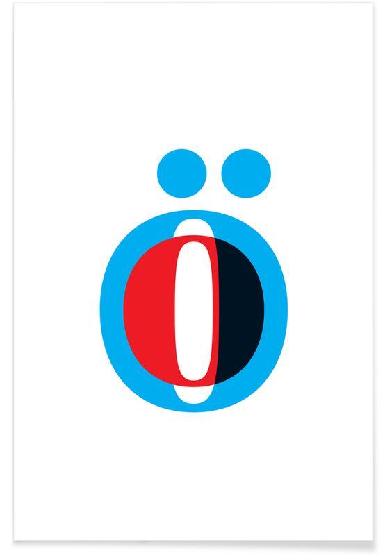 Alfabet og bogstaver, Cyan/Red Ö Plakat