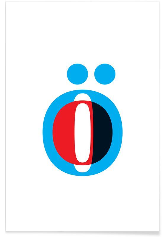 Alfabetet & bokstäver, Cyan/Red Ö Poster