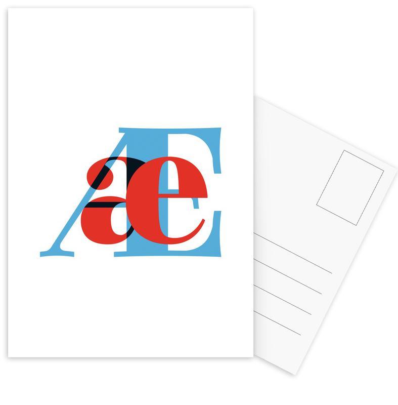 Cyan/Red Æ -Postkartenset