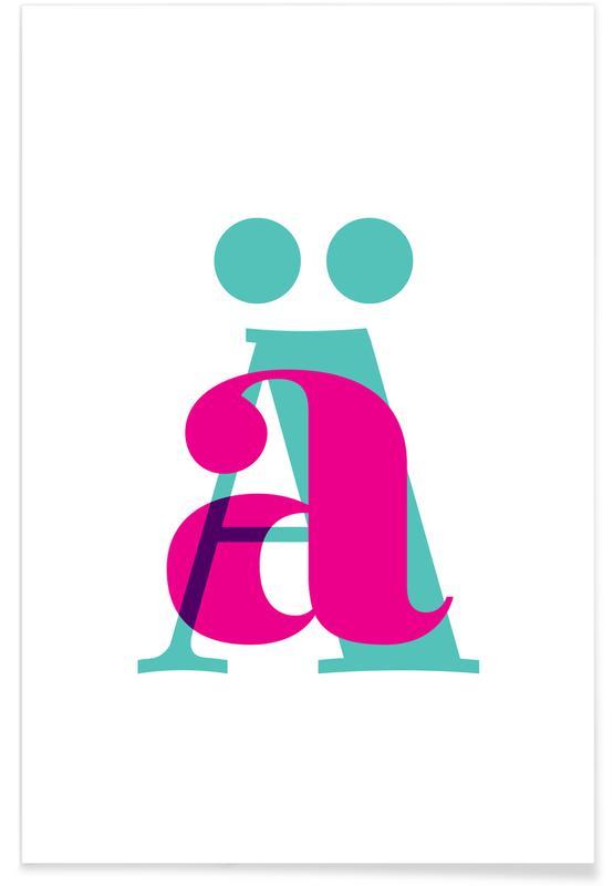 Alfabet og bogstaver, Magenta/Mint Ä Plakat