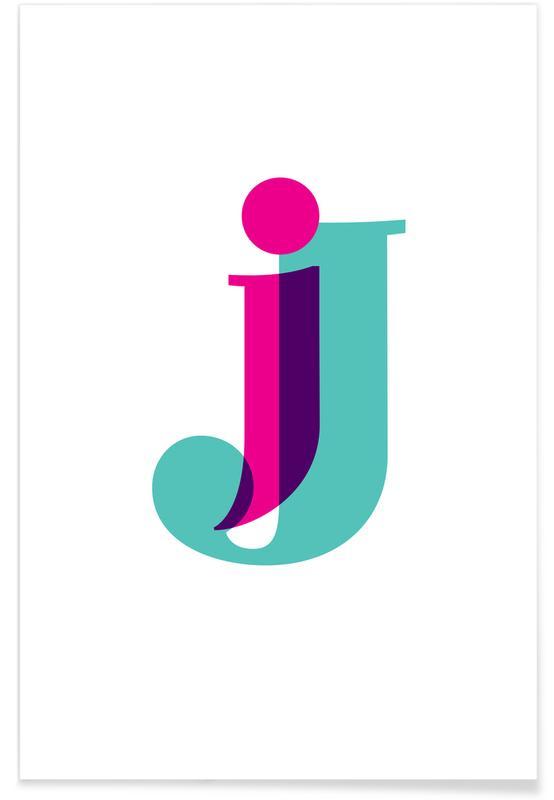 Alfabet og bogstaver, Magenta/Mint J Plakat