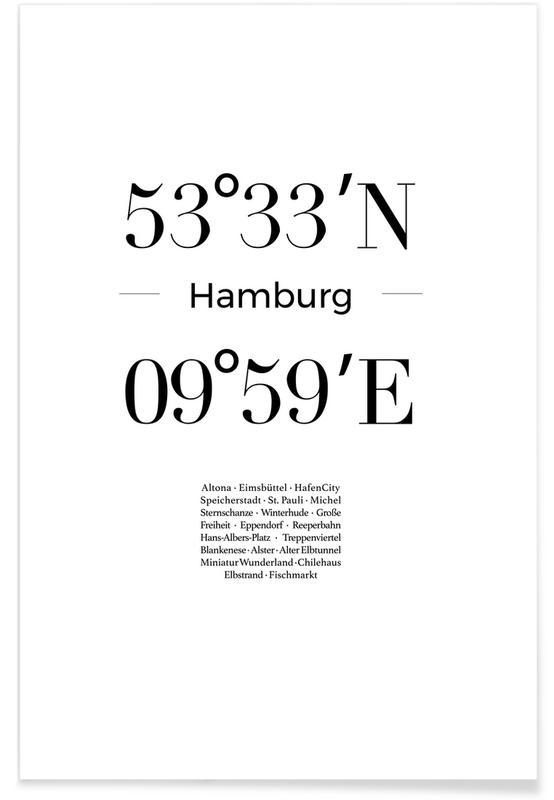 Hambourg, Noir & blanc, Coordonnées de Hambourg affiche
