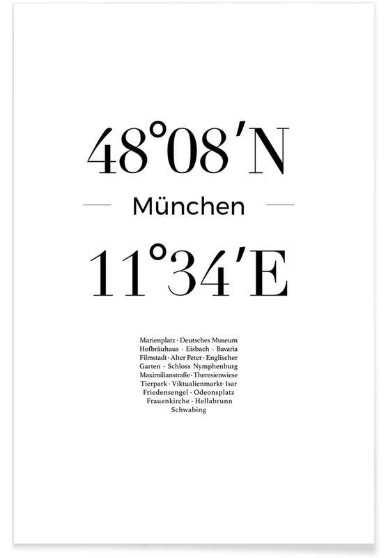 Munich, Noir & blanc, Coordonnées de Munich affiche