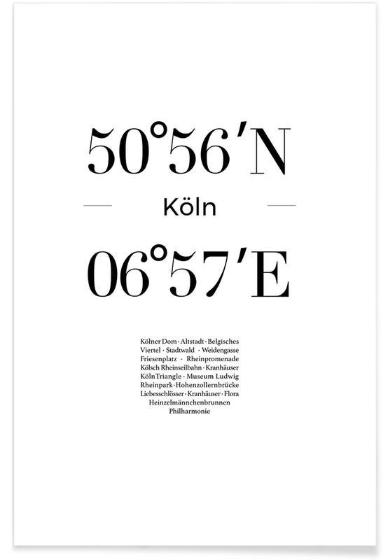 Svart & vit, Köln Koordinater Poster