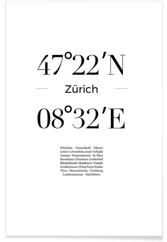 Zurich, Noir & blanc, Coordonnées de Zürich affiche