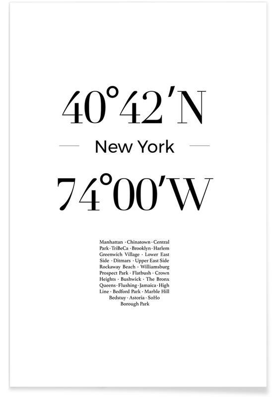 Nueva York, Blanco y negro, Coordenadas de Nueva York póster