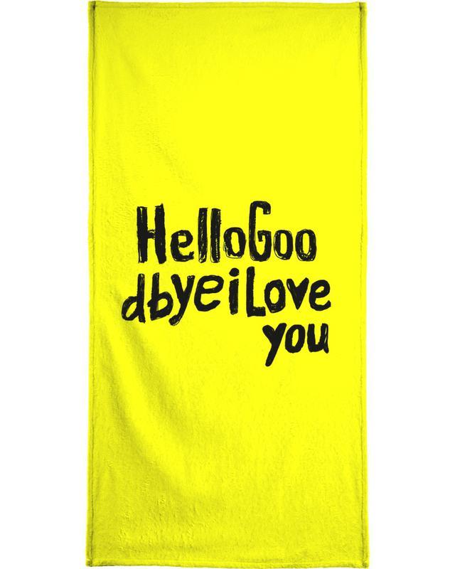 Lyrics, Quotes & Slogans, Motivational, Hello Goodbye by Mica Andreea Beach Towel