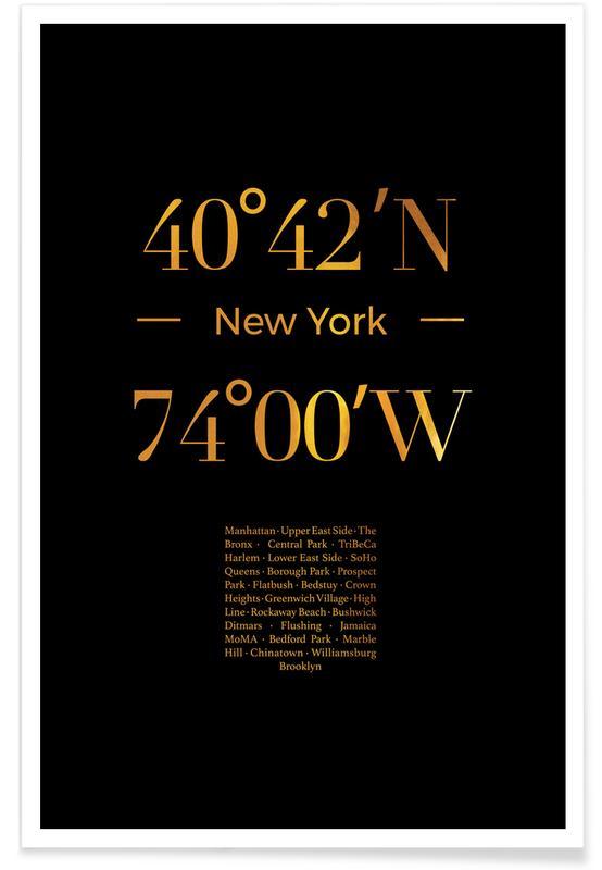 New York, Reise, New York-Gold -Poster