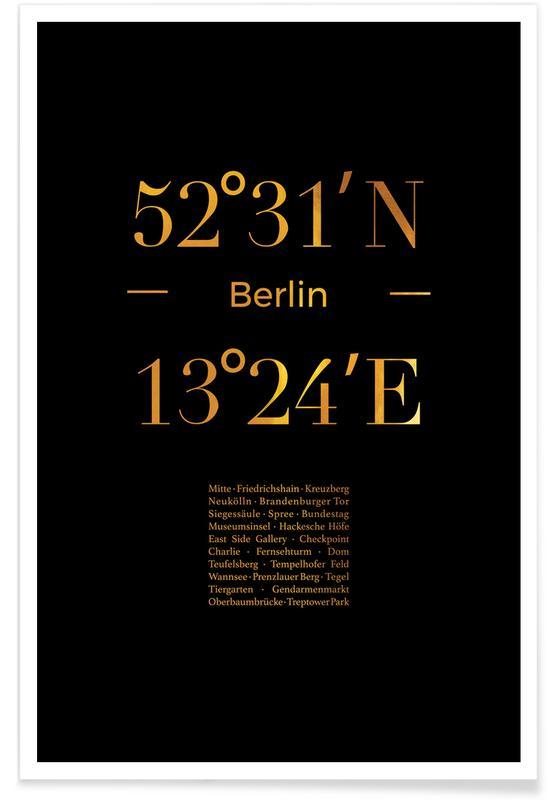 Berlin, Rejser, Berlin Icons Guld Plakat