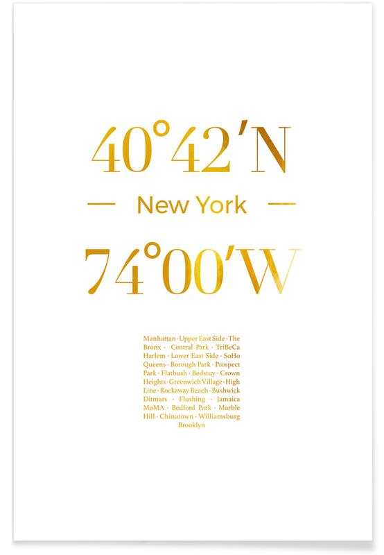 New York, Voyages, New York - Or - affiche