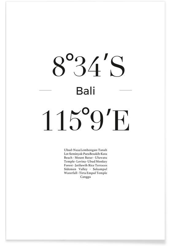 Sort & hvidt, Rejser, Bali Plakat