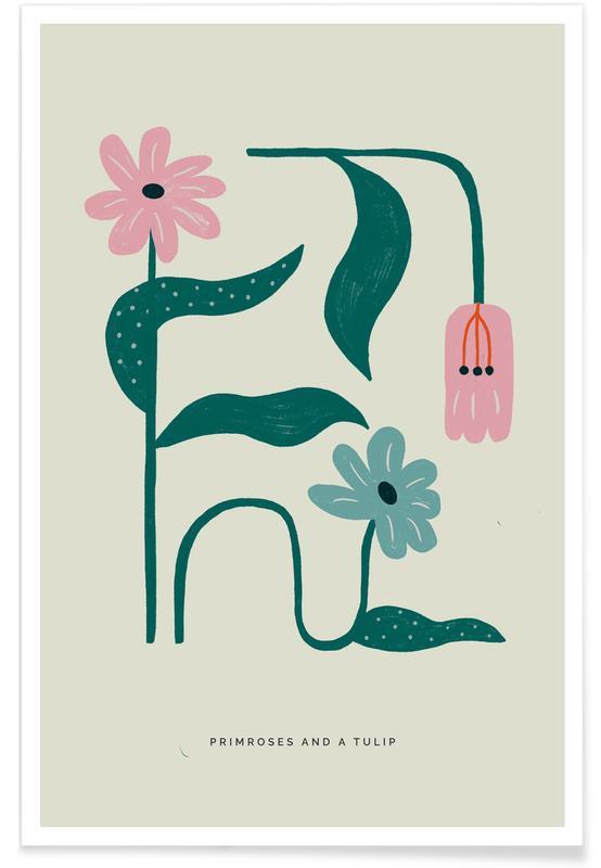 Tulipes, Primroses And A Tulip affiche