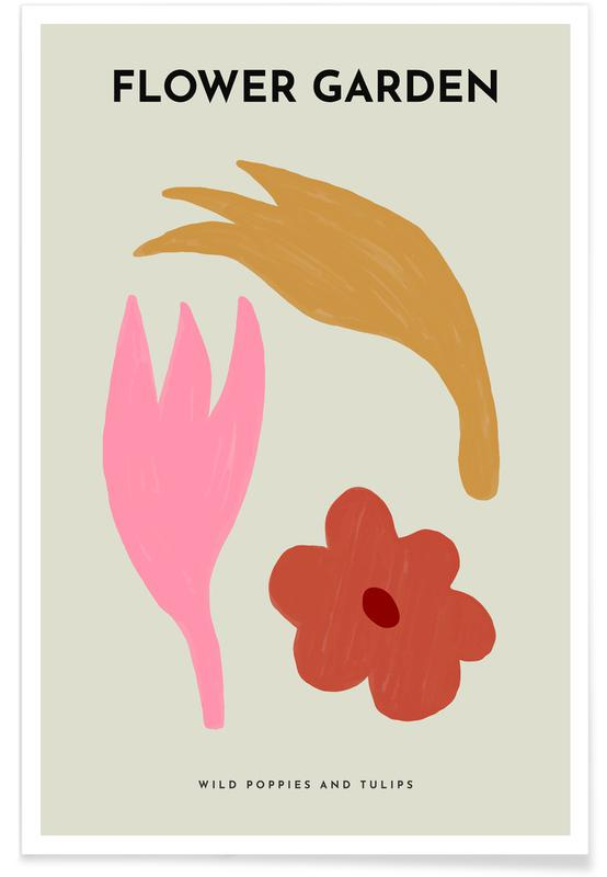 Tulipes, Coquelicots, Wild Poppies And Tulips affiche