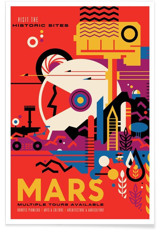 Reizen, Vintage reis, Mars poster