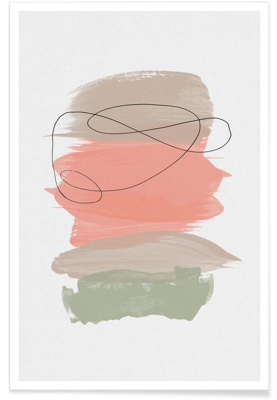 , Sand Meets Peach And Sage Poster