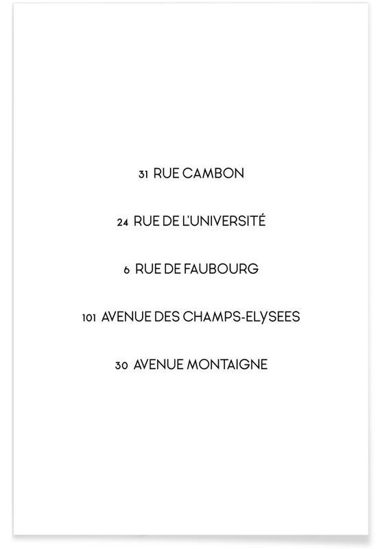 Black & White, Quotes & Slogans, When in Paris Poster
