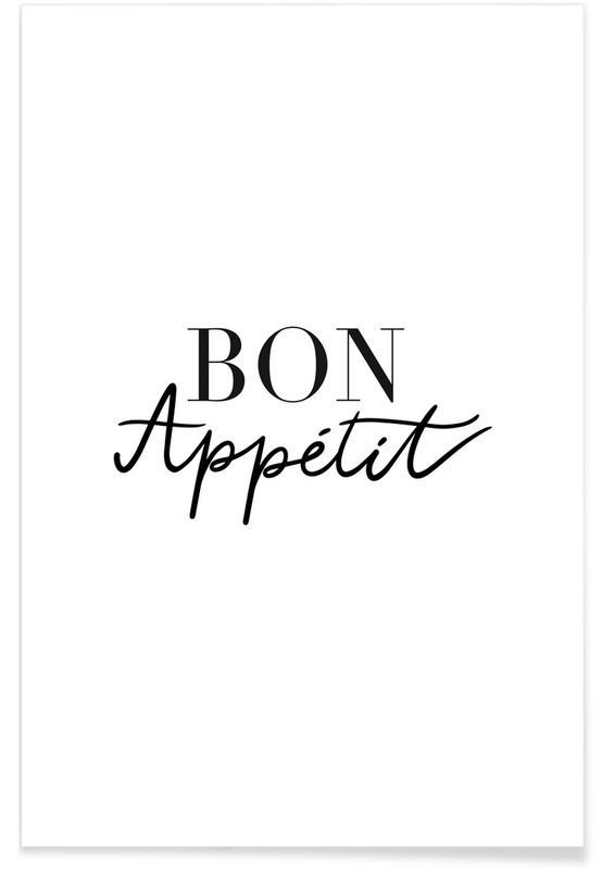 Schwarz & Weiß, Zitate & Slogans, Bon Appetit -Poster