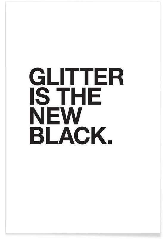Glitter black póster