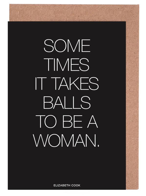 Black & White, Motivational, Quotes & Slogans, Balls Black Greeting Card Set