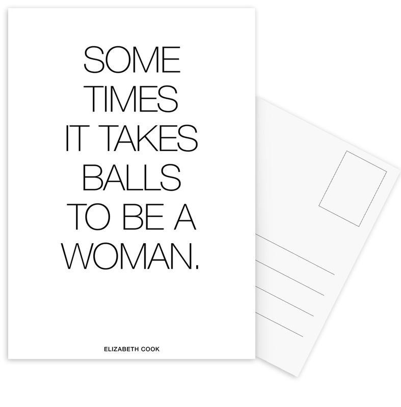 Black & White, Motivational, Quotes & Slogans, Balls White Postcard Set