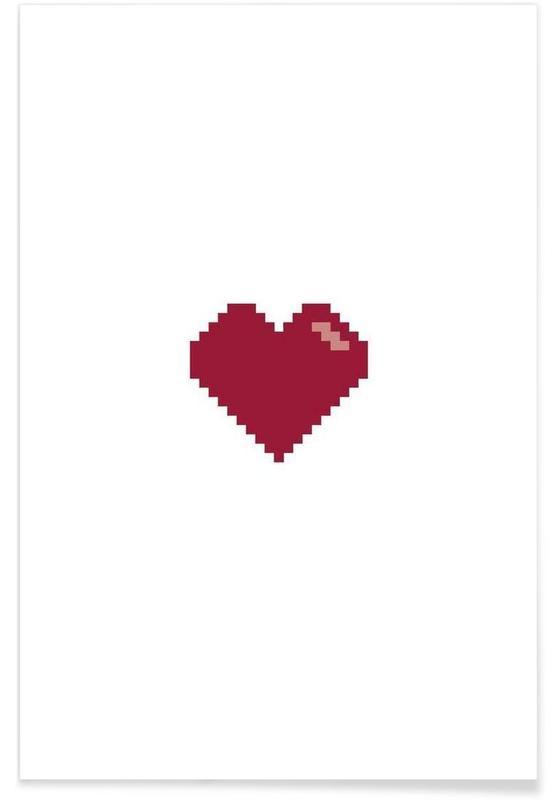 Hjerter, Pixel Heart Plakat