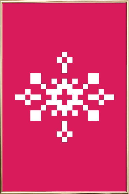 Pink Snowflake 1 Poster i aluminiumram