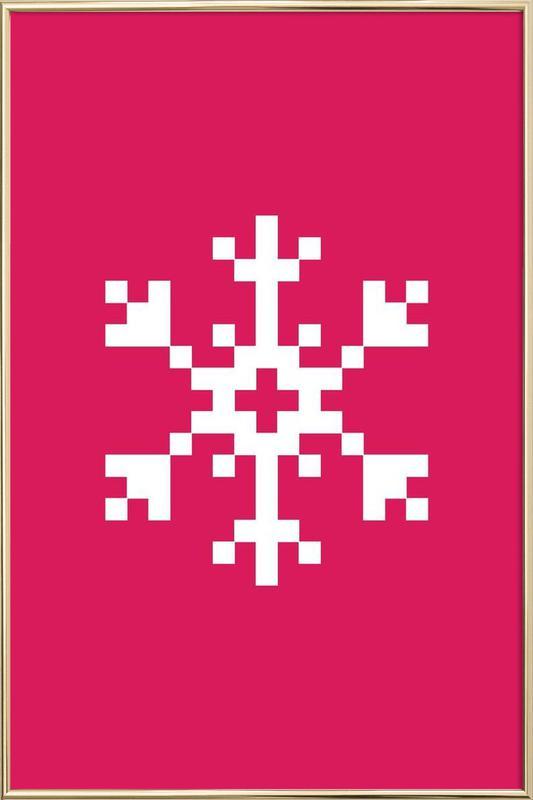 Pink Snowflake 2 Poster in Aluminium Frame