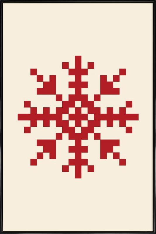 Red Snowflake 3 poster con cornice