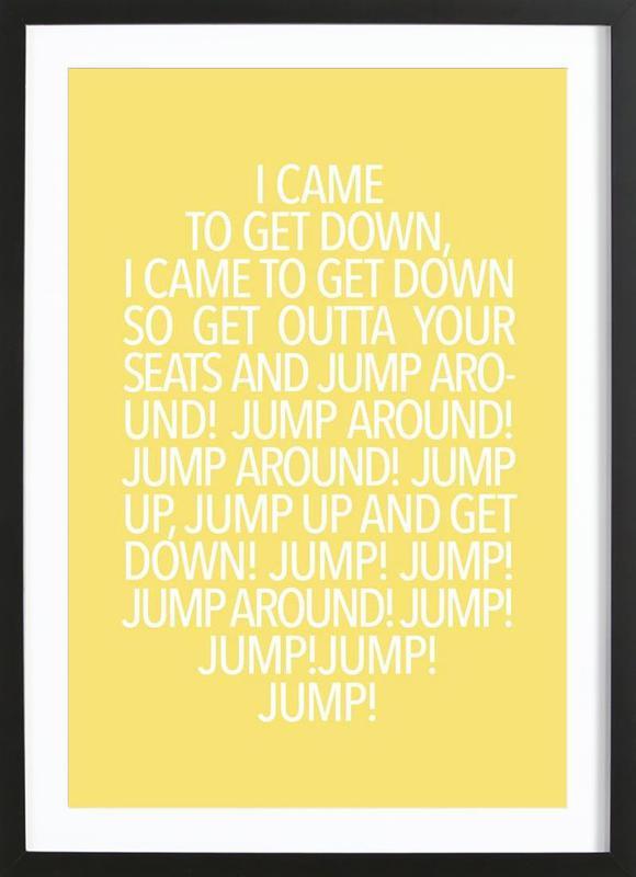 Jump Yellow affiche sous cadre en bois