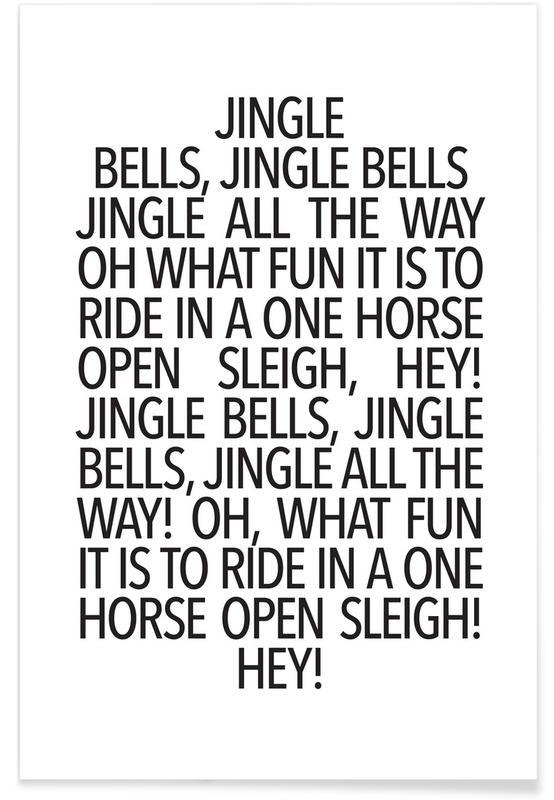 Sort & hvidt, Jul, Lyrik, Jingle Bells Plakat