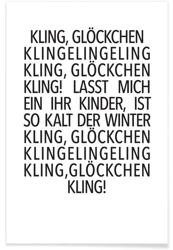 Sort & hvidt, Jul, Lyrik, Kling Glöckchen Plakat