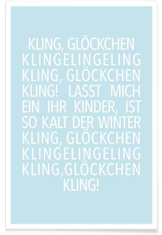 Jul, Lyrik, Kling Glöckchen Blue Plakat