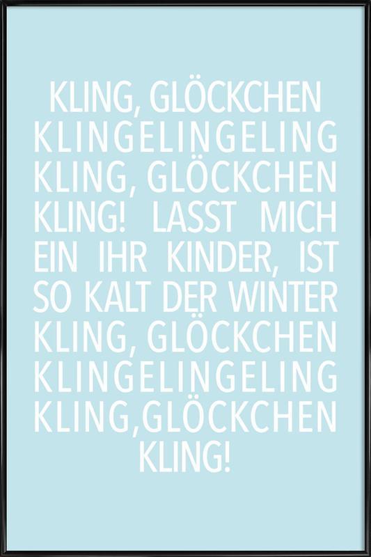 Kling Glöckchen Blue Poster i standardram