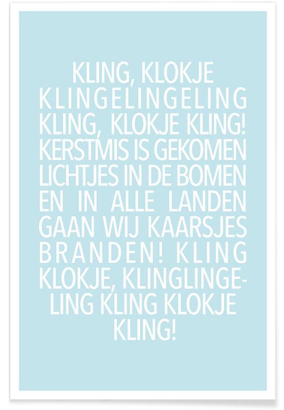 Jul, Lyrik, Kling, Klokje Blue Plakat