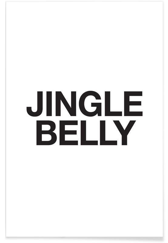 Sort & hvidt, Jul, Jingle Belly Plakat