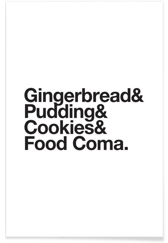 Sort & hvidt, Jul, Humor, Food Coma Plakat