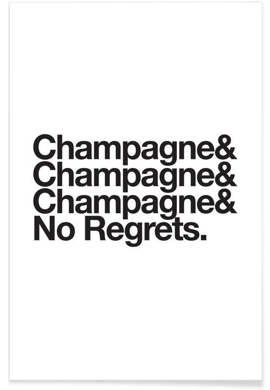 Blanco y negro, Divertidos, Champagne & Regrets póster