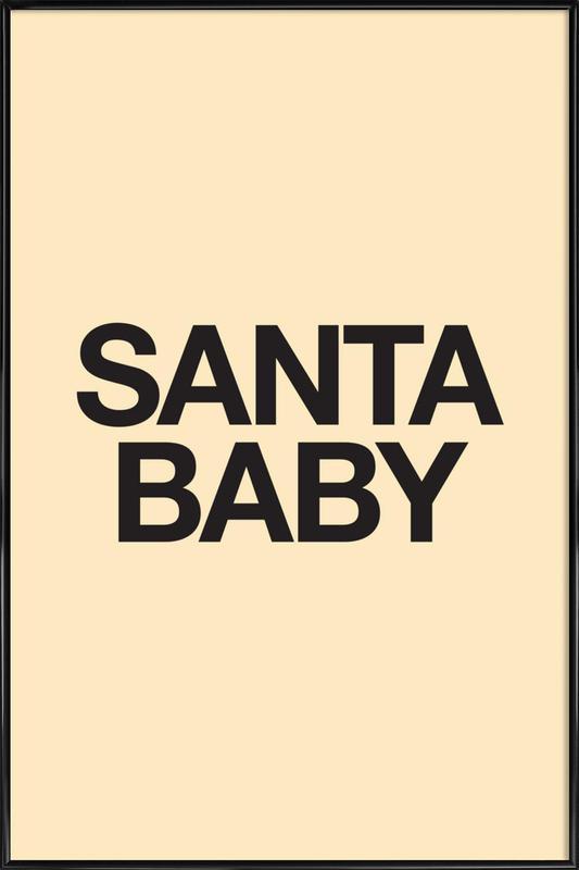 Santa Baby Yellow Poster i standardram