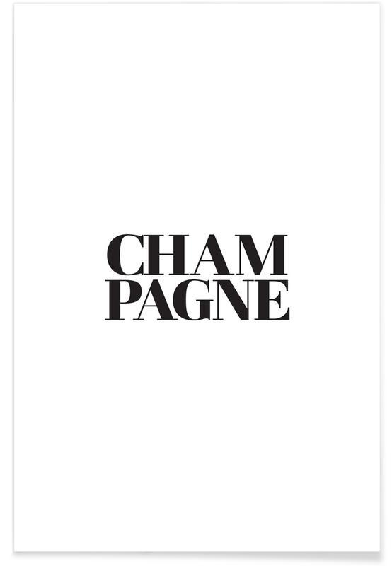 Sort & hvidt, Champagne Plakat