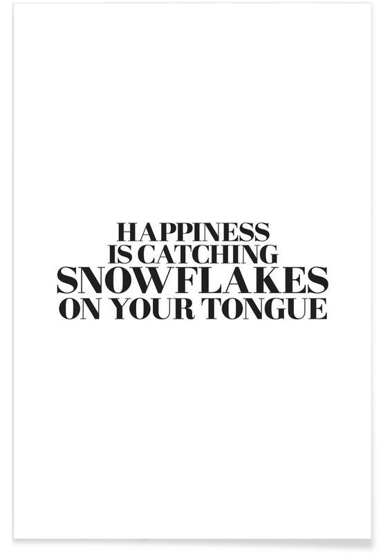 Sort & hvidt, Jul, Snowflakes On Your Tongue Plakat