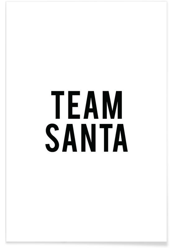 Sort & hvidt, Jul, Team Santa Plakat