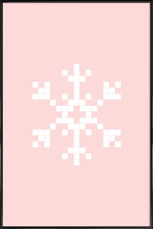 Pixel Snowflake Pink affiche encadrée