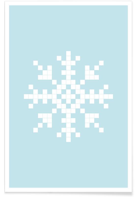 Pixel Snowflake Blue Poster