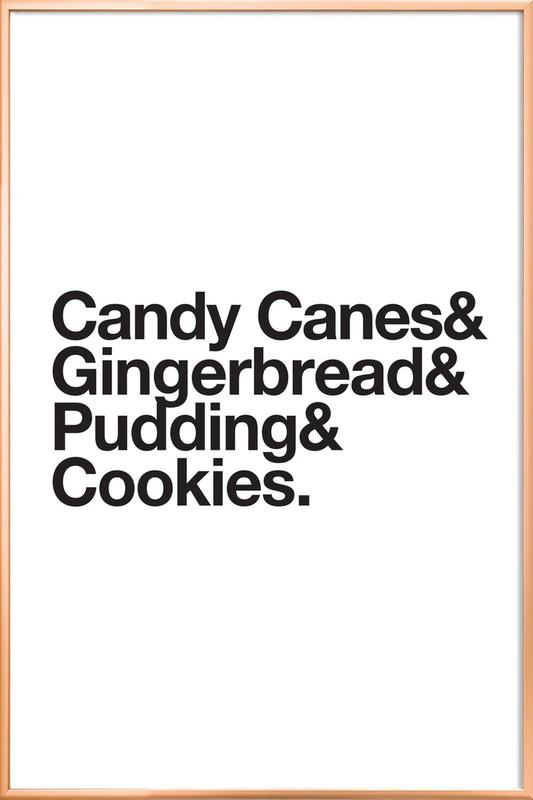 Candy Canes & Cookies poster in aluminium lijst
