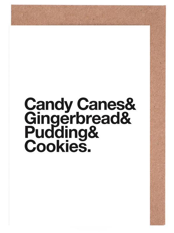 Weihnachten, Schwarz & Weiß, Candy Canes & Cookies -Grußkarten-Set