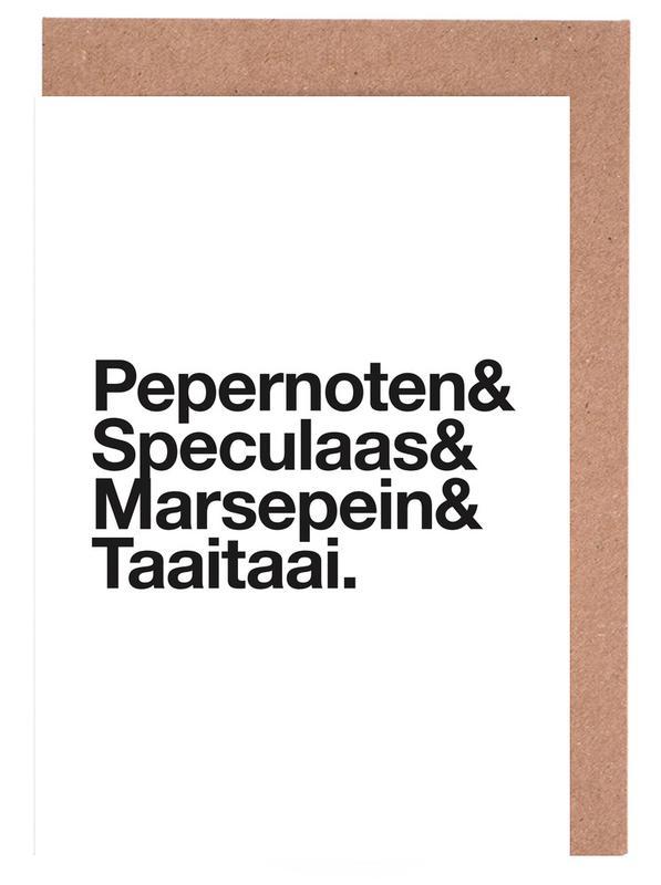 Weihnachten, Schwarz & Weiß, Pepernoten & Taaitaai -Grußkarten-Set