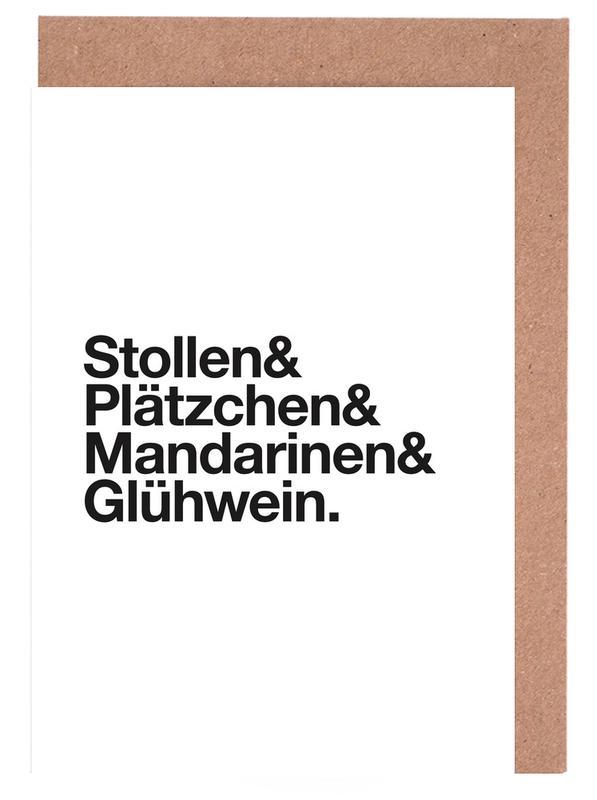 Schwarz & Weiß, Weihnachten, Stollen & Glühwein -Grußkarten-Set