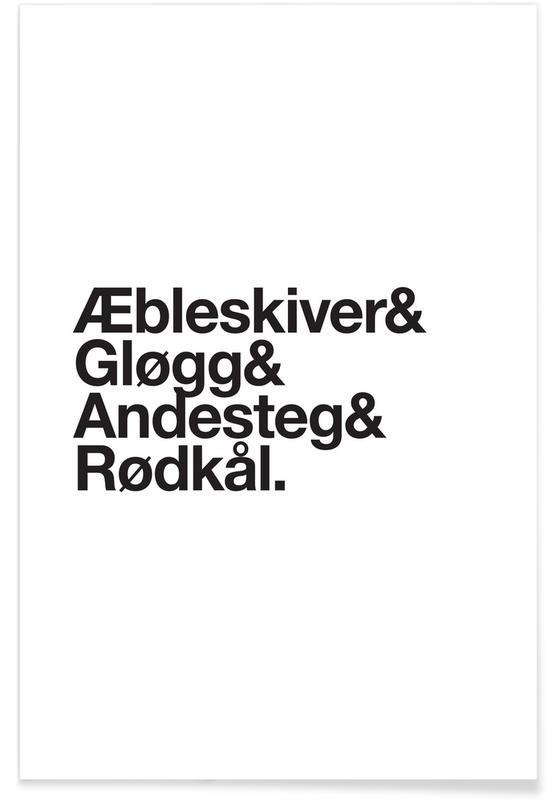 Sort & hvidt, Jul, Æbleskiver & Rødkål Plakat